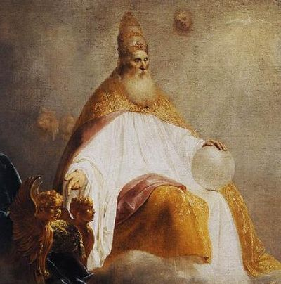Depiction of God the Father (detail) offering the right hand throne to Christ, Pieter de Grebber, 1654. GodInvitingChristDetail.jpg