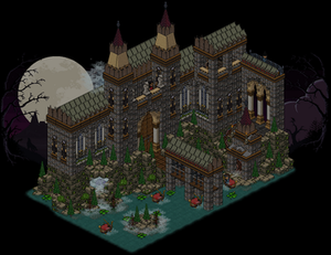Habbo - A screenshot of a guest room in Habbo