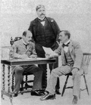 Owen Hall - Hall (seated left) with George Edwardes (c) and Sidney Jones
