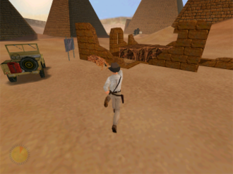 Indiana Jones and the Infernal Machine - A third-person action-adventure, the camera of Infernal Machine is constantly placed behind the playable character. The heads-up display in the bottom left corner is limited to a health indicator.