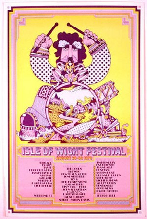 Isle of Wight Festival 1970 - Festival poster, listing artists booked to play on the three main days