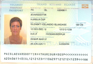Icelandic passport - The biodata page of an Icelandic biometric passport