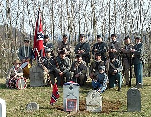 19th Tennessee Infantry - The Co. B, 19th Tennessee Infantry Reenactors Honor Guard at the dedication ceremony for a new gravemarker for 1st Lieutenant Robert J. Tipton of the Old Co. B, 19th Tennessee Infantry.