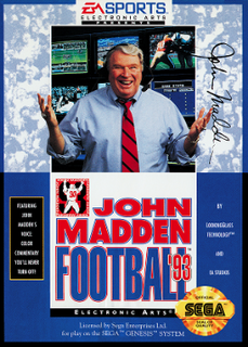 <i>John Madden Football 93</i> 1992 Fifth version of the football video game
