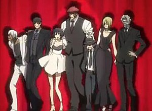 Blood Blockade Battlefront - The primary members of Libra (from left to right): Zapp, Steven, Chain, Klaus, Leonardo (with Sonic on his head), K.K., and Gilbert.