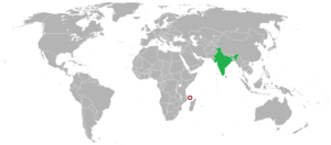 Comoros–India relations - Image: Map showing locations of India and Comoros on Atlas
