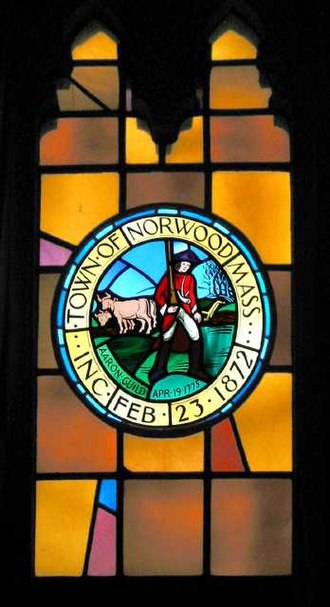 Norwood, Massachusetts - Stained-glass window in Norwood Town Hall depicting town seal.