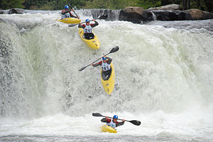 A kayaker paddles down Ohiopyle Falls during t...