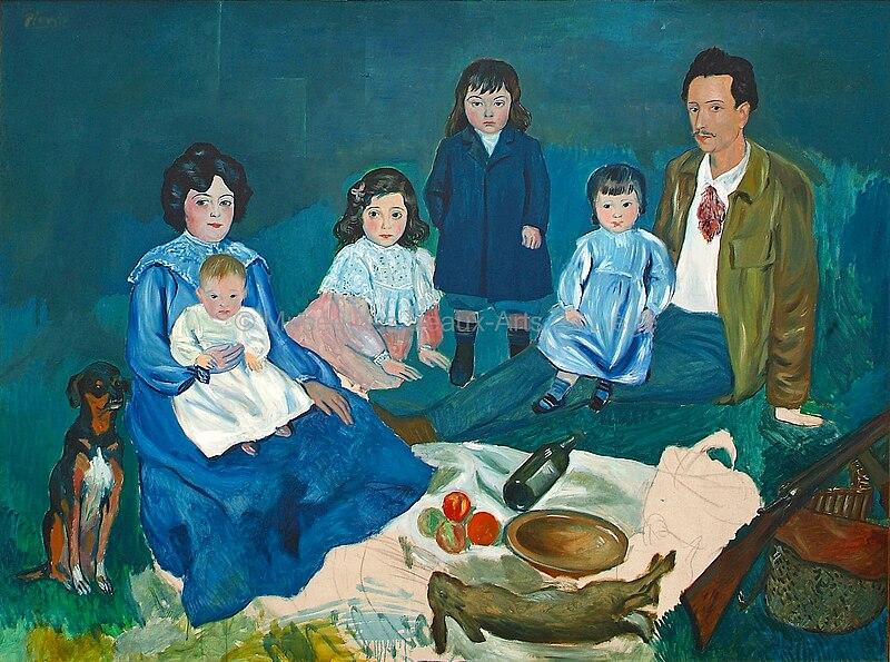 File:Pablo Picasso, 1903, La Famille Soler, oil on canvas, 150 x 200 cm, Musée des Beaux-Arts de Liège.jpg