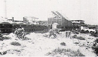 Pelaw Main, New South Wales - mid-winter photo of Pelaw Main Colliery and loading facilities; note boiler-house's chimney far left.