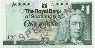 The Royal Bank of Scotland £1 note - Image: RBS Ilay £1 front