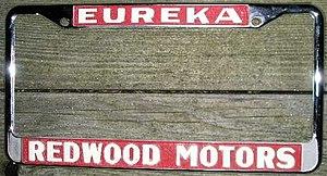 Eberle Schultz - License plate frame from Eb Schultz's Redwood Motors, circa 1970s.