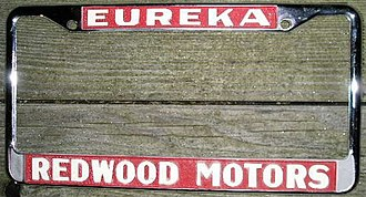 Eberle Schultz - License plate frame from Eb Schultz's Redwood Motors, circa 1970s.