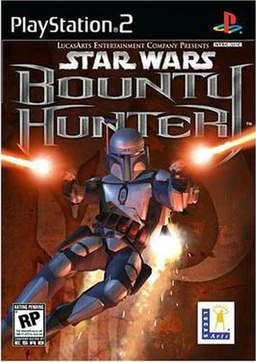 Promotional North American PS2 cover art of Jango Fett in Bounty Hunter