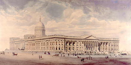 Nicholas Chevalier's unrealised 1860 vision for the National Gallery next to the State Library building State Library of Victoria Lithograph 1860.jpg