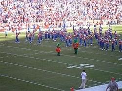 Albert and Alberta with the Pride of the Sunshine band pregame in 2005