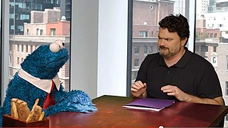 Double Fine Productions - Double Fine Productions owner Tim Schafer and Cookie Monster during a promotional video for Sesame Street: Once Upon a Monster