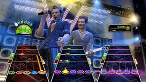 Guitar Hero: Van Halen - Members of Van Halen, including David Lee Roth (left) and Eddie Van Halen (right) performed motion capture in order to create their digital likeness for the game.
