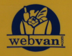 Webvan - Webvan logo as seen on an orphaned shipping bin