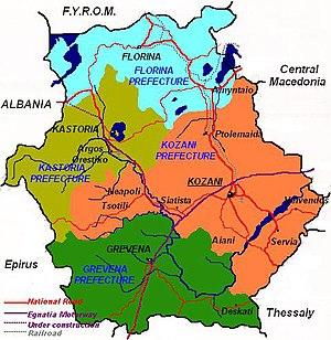Western Macedonia - The map of Western Macedonia region.