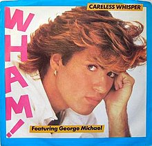 "Artwork for the US 7"" vinyl release credited to Wham! featuring George Michael."