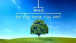 A green tree on a hill in a green field with the text 'Who Do You Think You Are?' above styled as a family tree
