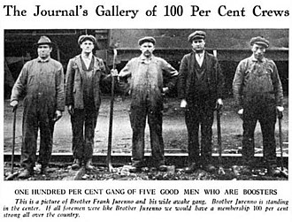 "Gandy dancer - A ""wide awake gang"" of section crew workers. Photo shows what appear to be heel claw bars used to pull up spikes. The title and caption of the photo refer to union membership. Published in Brotherhood of Maintenance of Way Employees Journal, 1921"