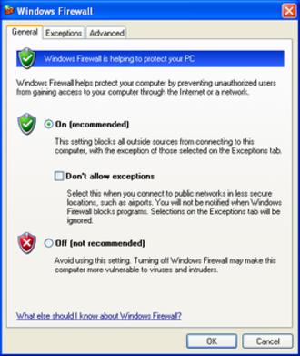 Windows Defender Firewall - Windows Firewall settings in Windows XP Service Pack 2