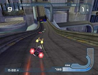 Wipeout Fusion - Clockwise from top left, the interface displays the player's current position, number of laps, speedometer, shield strength, and lap time.