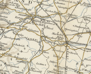 Sutton, Cambridgeshire - 20th Century Map of the surrounding area of Sutton