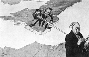 Charles Cooper Penrose-Fitzgerald -  Cartoon from German  magazine Ulk   Michel: 'Blut ist dicker als wasser- ist nicht dicker- ist dicker -ist nicht - ist'. Admiral Fitzgerald: 'Das wollen wir mal sehen'