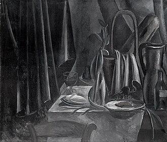 "Du ""Cubisme"" - Image: André Derain, 1912, Nature morte (Still Life), oil on canvas, 100.5 x 118 cm, State Hermitage Museum, Saint Petersburg, Russia. (Black and white)"