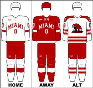 Miami RedHawks men's ice hockey - Image: CCHA Uniform MU