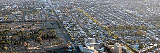 Carlton North, Victoria - Aerial view of Carlton North looking north from Carlton.  On the left is Melbourne General Cemetery