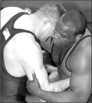 Grappling position - Two wrestlers in a clinch, using over- and underhooks