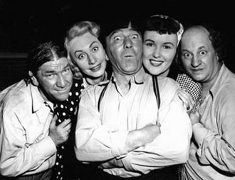 Victoria Horne - Victoria Horne (second from left) with the Three Stooges and co-star Patricia Wright (second from right) in Cuckoo on a Choo Choo.
