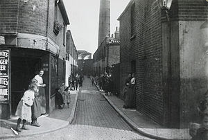 Deptford - A cobbled street in a Deptford slum, around 1900