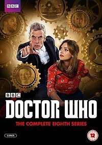DVD cover for Series 8, featuring the Twelfth Doctor and Clara Oswald; as well as Danny Pink, Missy, a Dalek and a Cyberman.