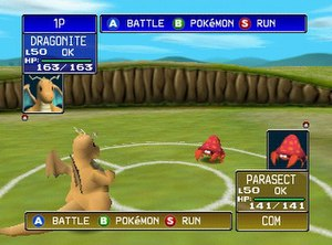 Pokémon Stadium - The player's Dragonite faces off against the opponent's Parasect. Pokémon in this game may be rented or imported from ''Pokémon Red'' or ''Blue''.
