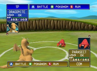 "Pokémon Stadium - The player's Dragonite faces off against the opponent's Parasect. Pokémon in this game may be rented or imported from Pokémon Red, Blue, or ""Yellow""."