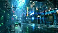 Concept art for Europolis, a city in Stark, a cyberpunk, 23rd century Earth