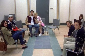 Final Destination (film) - A screenshot from the film showing the main cast: (from left to right) Kristen Cloke as Ms. Valerie Lewton, Seann William Scott as Billy Hitchcock, Kerr Smith as Carter Horton, Amanda Detmer as Terry Chaney, Ali Larter as Clear Rivers, Devon Sawa as Alex Browning, and Chad Donella as Tod Waggner.