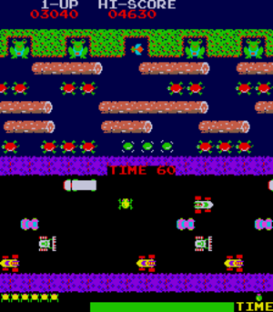 Screenshot of the Frogger arcade game