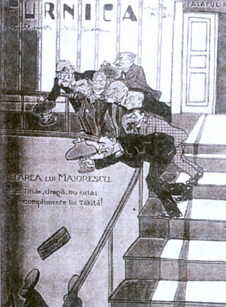 """Take Ionescu - The fall of the Titu Maiorescu executive in 1914, cover of Furnica magazine. Ion I. C. Brătianu and his ministers look on as Maiorescu plunges downstairs; the caption reads """"Dear Titu, don't forget to give our compliments to Tăkiţă!"""""""
