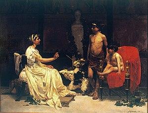 José Garnelo - Cornelia with her sons, Tiberius   and Gaius Gracchus.