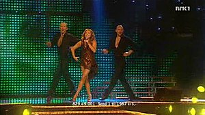 "Melodi Grand Prix 2007 - Guri Schanke and dancers performing ""Ven a bailar conmigo"" at Melodi Grand Prix 2007"
