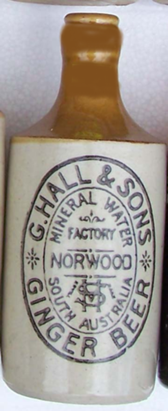 "Geo. Hall & Sons - ""Stonie"" (non-alcoholic) ginger beer gained its name from the ceramic bottles they were sold in."