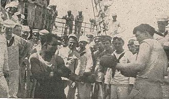 Abraham Jacob Hollandersky - Abe in crouch on left, boxing on the USS ''Mayflower''