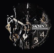 Cover art for In Search of Solid Ground; features a broken clock, with gears exposed, and a dark substance dripping down the face.