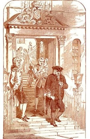 Letter to Chesterfield - Illustration of Dr Johnson leaving Lord Chesterfield's residence.
